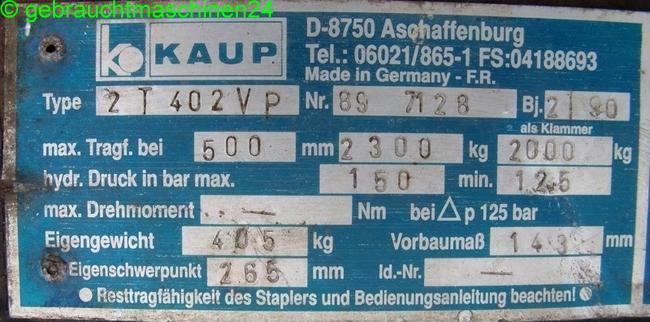 Palettengabel mit Steinklammer, hydr.2 T 402 VP
