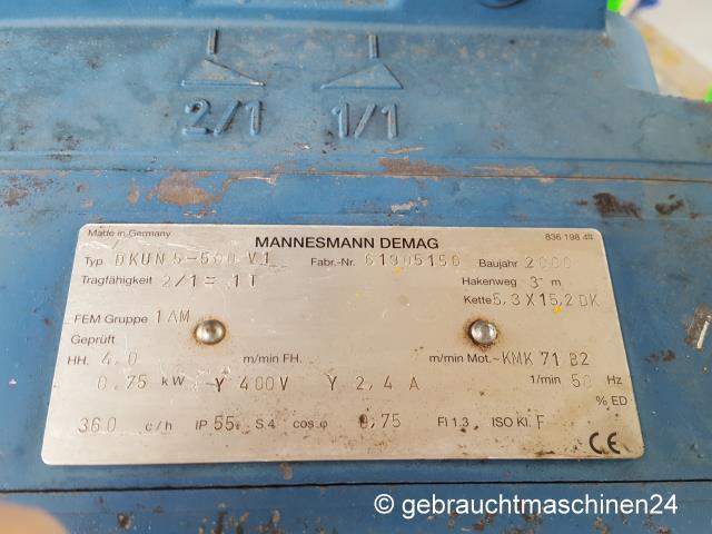Elektrokettenzug 1000 kgDKUN 5-500